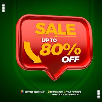 Rode doos links voor het bewerken van promotietekst verkoop 80 procent korting