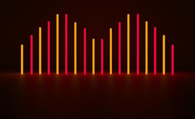 Rode en gele neon achtergrond 3d render ontwerp