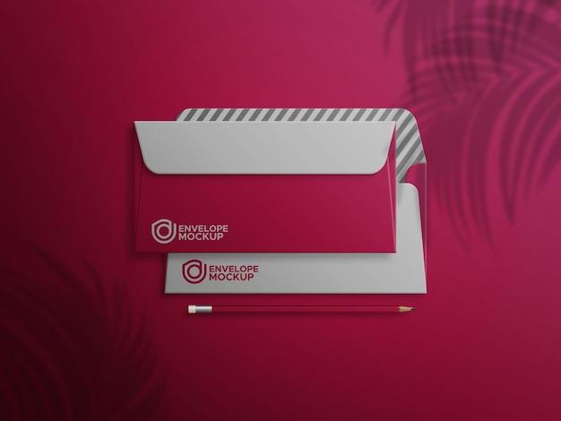 Rode envelop voor- en achterkant mockup