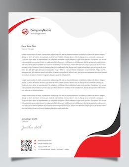 Rode golven briefpapier template ontwerp