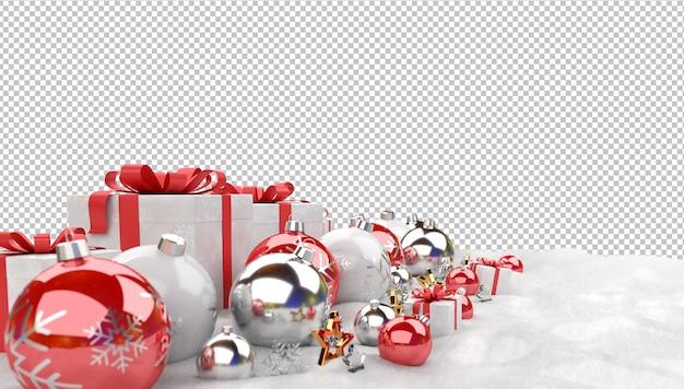 Rode kerstballen en geschenken op sneeuw