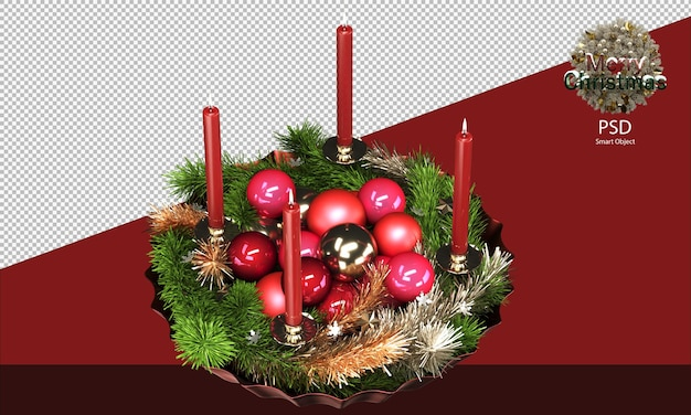Rode kerstkom vol glimmende ornamenten klatergoud en kaarsen