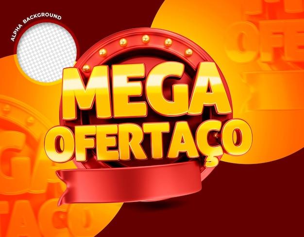 Rode mega-aanbieding in 3d-banner in brazilië