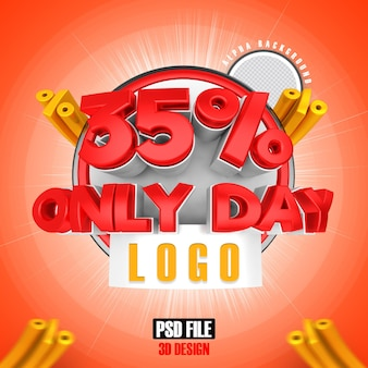 Rode mega sale 35 alleen dag 3d-rendering ontwerp