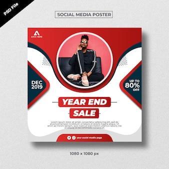 Rode moderne creatieve verkoopaffiche voor sociale media