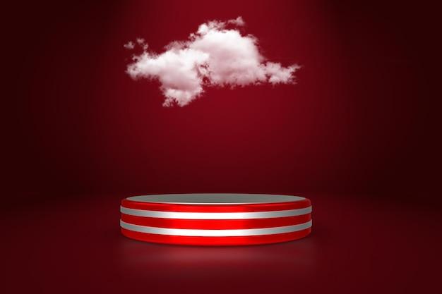 Rode podium gladde cirkel met wolk en abstracte luxe zachte rode achtergrond