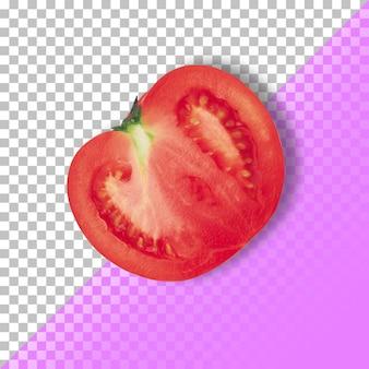 Rode verse tomaat segment geïsoleerd op transparante achtergrond. psd