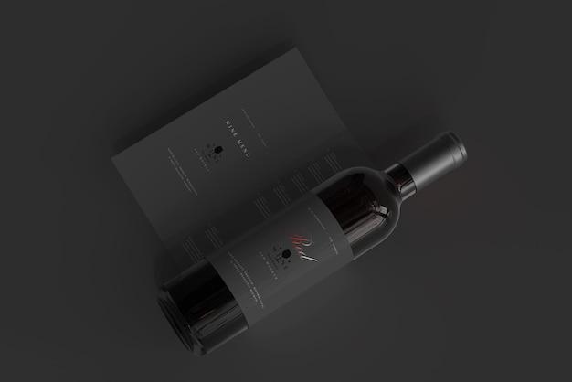 Rode wijnfles met menumodel
