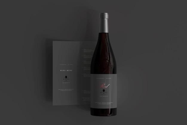 Rode wijnfles met menumodel Premium Psd