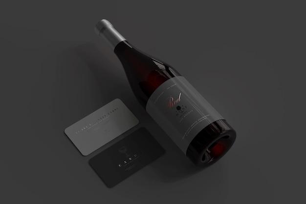 Rode wijnfles met visitekaartjesmodel