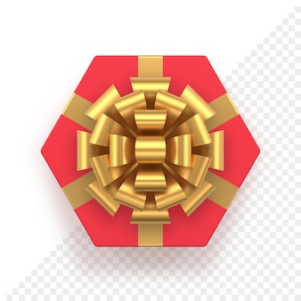 Rode zeshoekige geschenkdoos en gouden boog bovenaanzicht