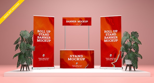 Roll up banner en stand banner mockup. sjabloon