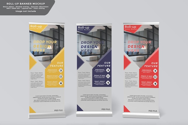 Roll-up banner mockup ontwerp vooraanzicht