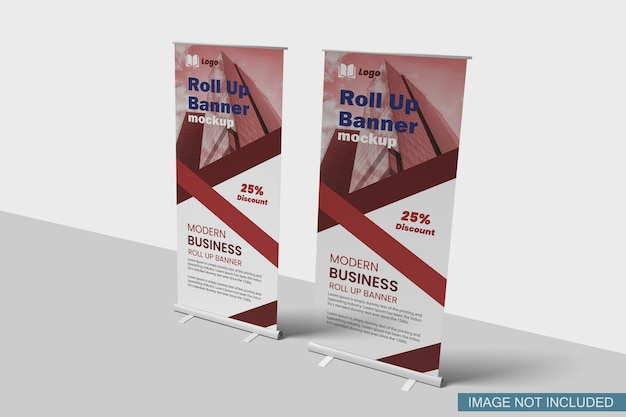 Roll-up banner mockup zijaanzicht