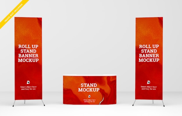 Roll up banner y stand banner mockup. plantilla psd.