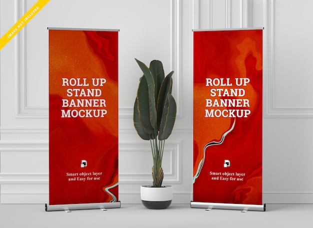 Roll up banner stand mockup. modello .