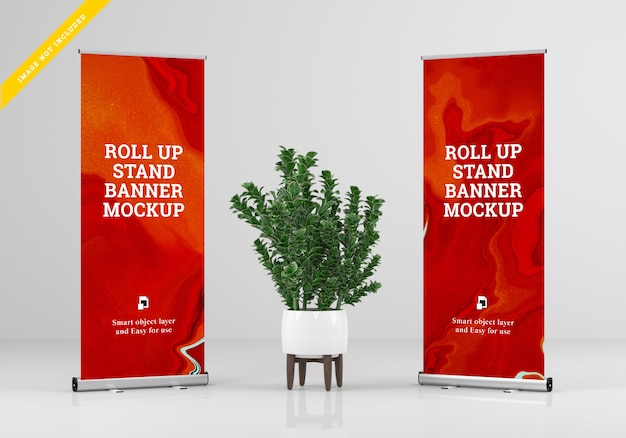 Roll up banner stand mockup. plantilla psd.
