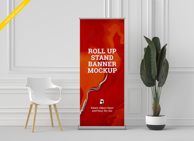 Roll up banner stand mockup. sjabloon.