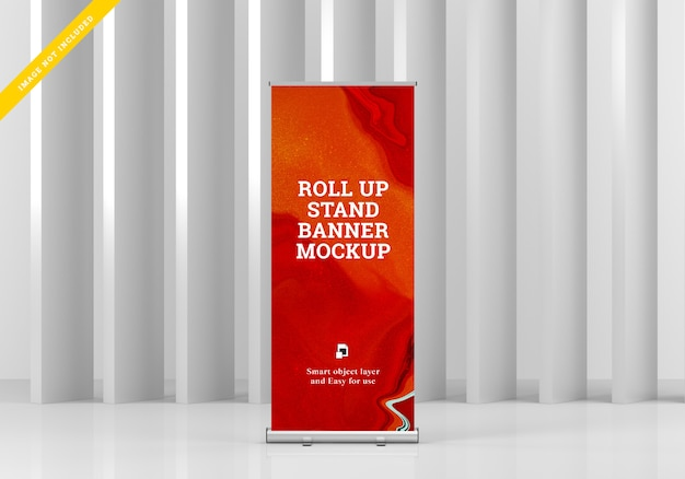 Roll up banner stand mockup.