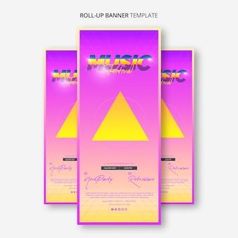 Roll up banner template per il festival musicale degli anni '80
