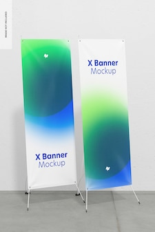 Roll-up of x-banner mockup, juiste weergave