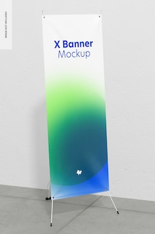 Roll-up of x-banner mockup, perspectief