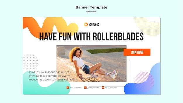 Rollerblades concept sjabloon voor spandoek