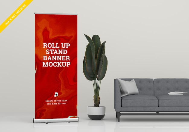 Rollup xbanner stand mockup. sjabloon psd.