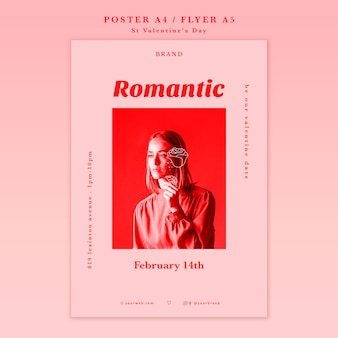 Romantisch meisje dat weg affiche kijkt