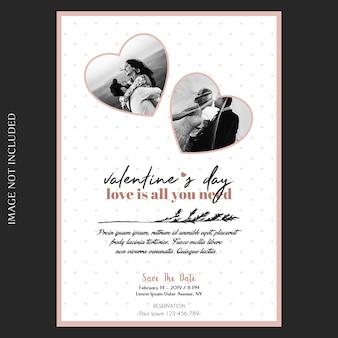 Romantische, creatieve, moderne en eenvoudige valentijnsdag uitnodiging, wenskaart en foto mockup