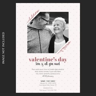 Romantische, creatieve, moderne en eenvoudige valentijnsdag uitnodiging, wenskaart en foto mockup Premium Psd