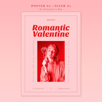 Romantische valentijnskaart met meisjesaffiche