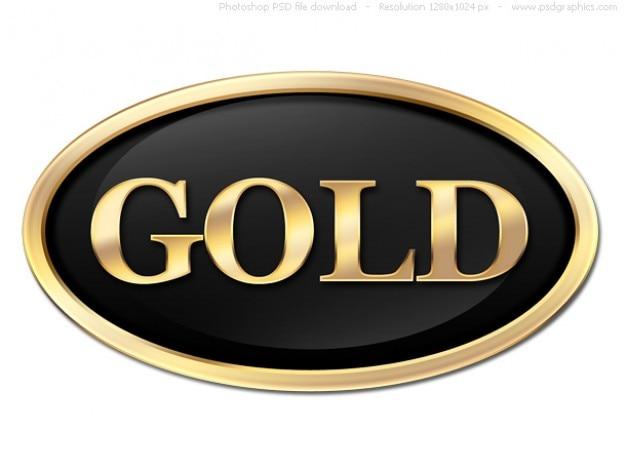 Ronda de botón de oro, plantilla de la etiqueta psd