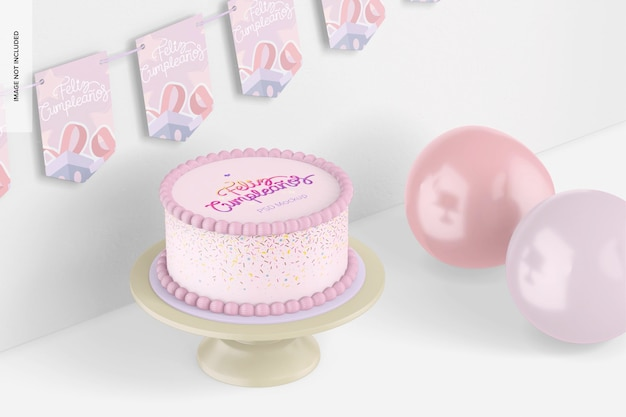 Ronde cake met banners mockup