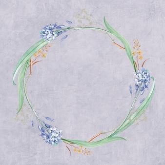Ronde gemengde bloemen frame patroon mockup