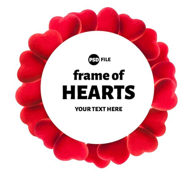Ronde harten frame, valentijnsdag of bruiloft achtergrond