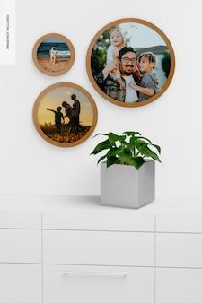 Ronde muur fotolijst met vierkante pot mockup