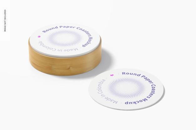 Ronde papieren onderzetters met doosmodel