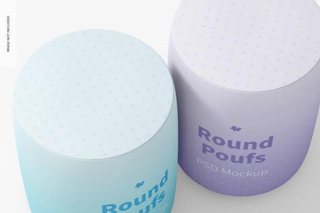 Ronde poefs mockup, close-up