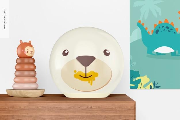 Ronde tafellamp voor kinderen met ringpiramide speelgoedmodel