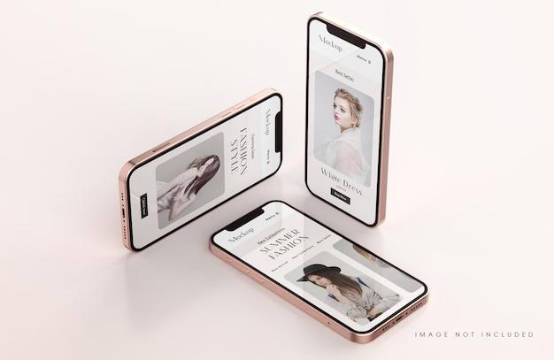 Rood en goud telefoonschermmodel met presentatiesjabloon voor mobiele apps