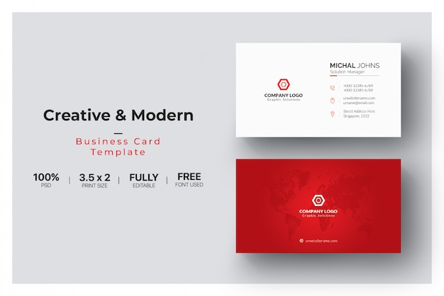 Rood en wit visitekaartje