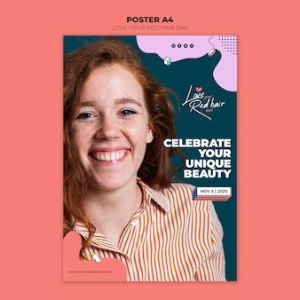 Rood haar dag concept poster sjabloon