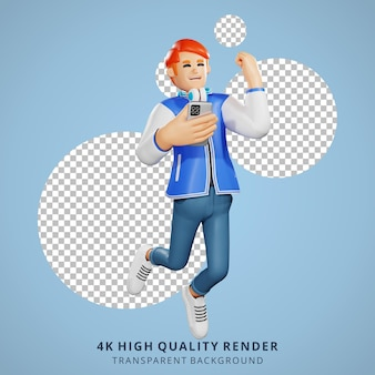 Rood haar mensen gelukkig springen 3d karakter illustratie