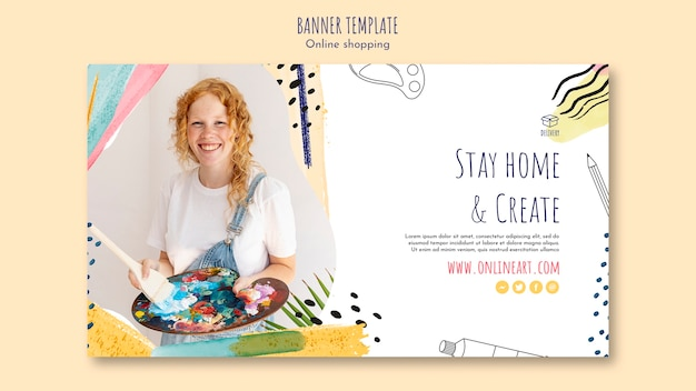 Roodharige kunstenaar meisje online winkelen sjabloon voor spandoek