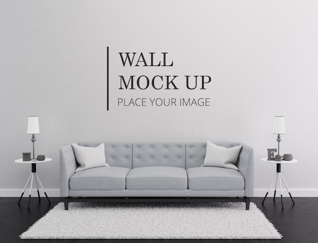Room wall mock up - sala de estar moderna minimalista monocromática con sofá