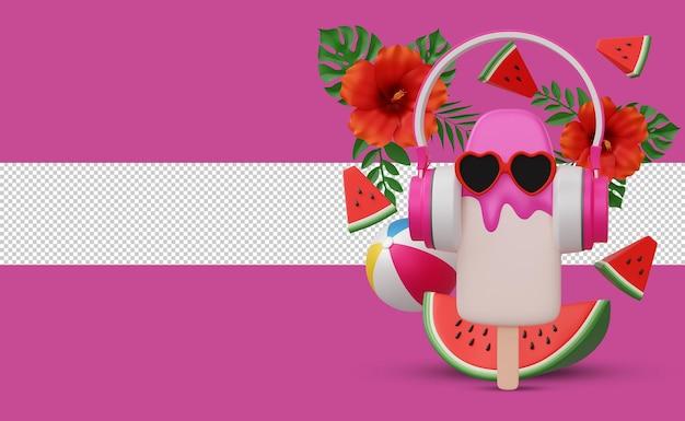 Roomijs met hoofdtelefoon en bloem, het 3d teruggeven van het zomerseizoen