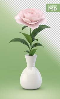 Rosa rosa flor en un jarrón blanco