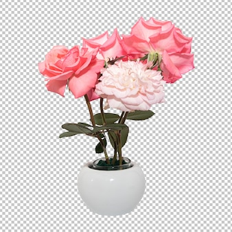Rosa rosa flores en florero en transparente