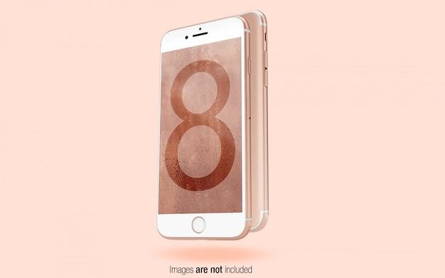 Rose gold iphone voor- en achteraanzicht psd mockup